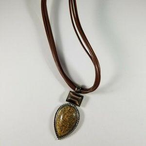 Roman Brown Pendant Multi Cord Necklace